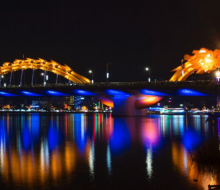 Traveling to Da Nang and seeing Dragon Bridge blows fire and water